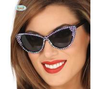 Bril met paarse diamanten