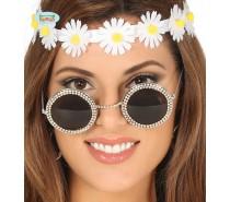 Bril rond glas met juwelen
