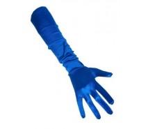 Handschoenen: Satijn blauw 48 cm een maat