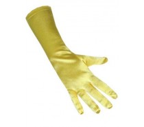 Handschoenen: Satijn Stretch Luxe 40 cm Geel een maat