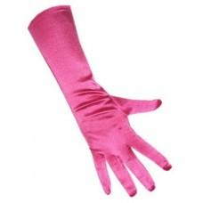 Handschoenen: Satijn stretch luxe 40 cm hard roze one size een maat