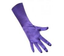 Handschoenen: Satijn Stretch luxe 40 cm Paars een maat