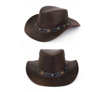 Hoeden: Cowboyhoed leder bruin