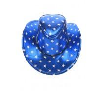 Hoeden: Stetsonhoed metallic blauw + sterren one size