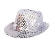 Hoeden: Hoedje Pailletten Zilver met LED