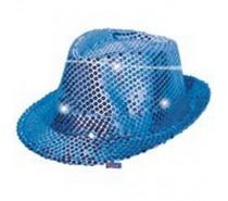 Hoeden: Hoedje Pailletten Blauw met LED