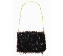 Tassen: Tasje zwart lange pluche