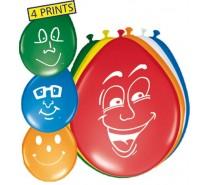 Ballonnen: 12In/30cm Happy Face 8 st.