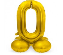 Folieballon met Standaard Cijfer 0 Regenboog, zilver of goud- 81 cm (Lucht)