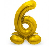 Folieballon met Standaard Cijfer 6 Regenboog, zilver of goud - 81 cm (Lucht)
