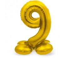 Folieballon met Standaard Cijfer 9 Regenboog, zilver of goud - 81 cm (Lucht)