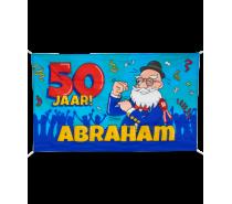 Gevelvlag XXL 50 jaar Abraham Cartoon 150 x 90 cm