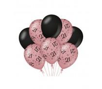 De Rosegold/Black Ballonnen 21 jaar (ook voor helium)