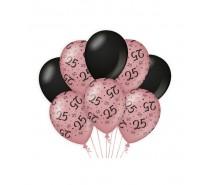 De Rosegold/Black Ballonnen 25 jaar (ook voor helium)