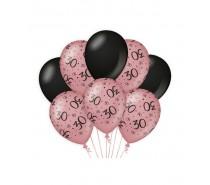 De Rosegold/Black Ballonnen 30 jaar (ook voor helium)