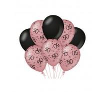 De Rosegold/Black Ballonnen 50 jaar (ook voor helium)