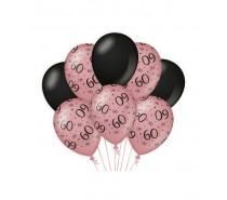 De Rosegold/Black Ballonnen 60 jaar (ook voor helium)
