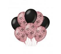 De Rosegold/Black Ballonnen 80 jaar (ook voor helium)