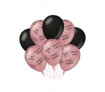 De Rosegold/Black Ballonnen Happy Birthday (ook voor helium)