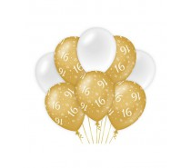 De Gold/White Ballonnen 16 jaar (ook voor helium)