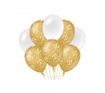 De Gold/White Ballonnen 21 jaar (ook voor helium)