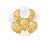 De Gold/White Ballonnen 25 jaar (ook voor helium)