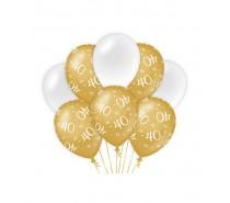 De Gold/White Ballonnen 40 jaar (ook voor helium)