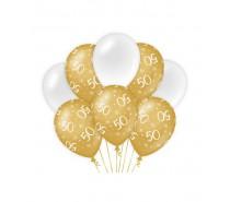 De Gold/White Ballonnen 50 jaar (ook voor helium)
