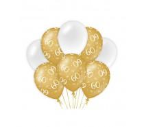 De Gold/White Ballonnen 60 jaar (ook voor helium)