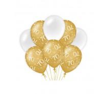 De Gold/White Ballonnen 70 jaar (ook voor helium)