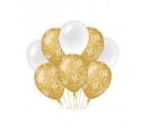 De Gold/White Ballonnen 80 jaar (ook voor helium)