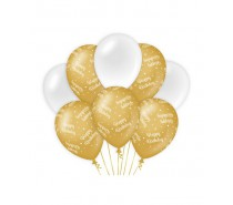 De Gold/White Ballonnen Happy Birthday (ook voor helium)