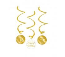 Gold/White Swirl decorations 18 Jaar