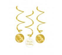Gold/White Swirl decorations 21 Jaar