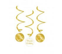 Gold/White Swirl decorations 30 Jaar