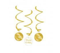Gold/White Swirl decorations 40 Jaar