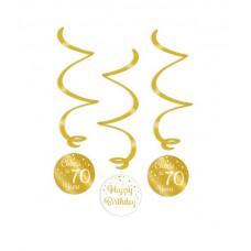 Gold/White Swirl decorations 70 Jaar