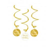 Gold/White Swirl decorations Happy birthday