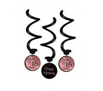 Rose/Black Swirl  decorations 16 Jaar