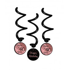Rose/Black Swirl  decorations 40 Jaar