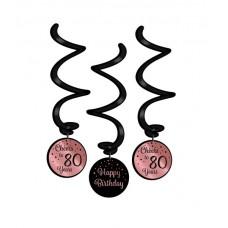 Rose/Black Swirl  decorations 80 Jaar