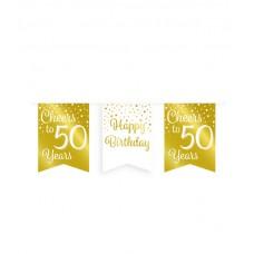 De Gold/White Party Flag banner 50 jaar