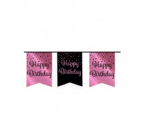 De Rosegold/Black Party Flag banner Happy Birthday