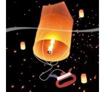 Wensballon (75x38cm) met vlieger touw (30m)  Wit