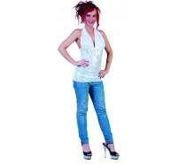Disco Top: Wit-Zilver glitter - 5 mogelijkheden om te dragen - een maat
