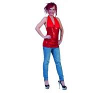 Disco Top: Rood glitter - 5 mogelijkheden om te dragen - een maat
