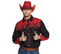 Shirt Western Zwart/Rood
