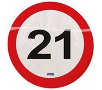 Servetten Verkeersbord 21 Jaar  20 st.